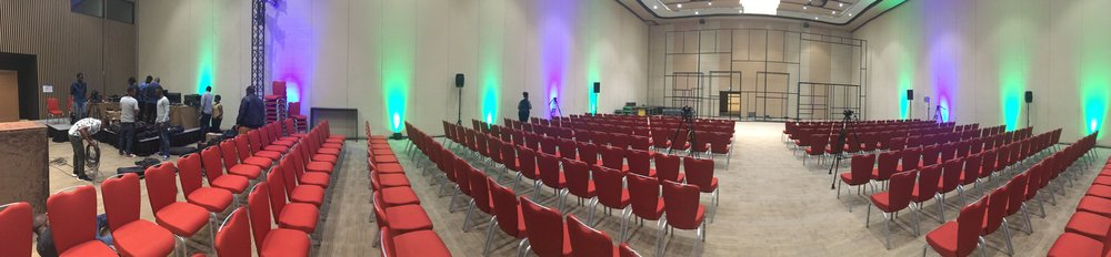 A panorama of the MH2 room with the ADMA team setting up the livestream gear.