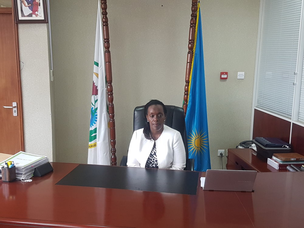 The Minister Of Health, Dr. Diane GASHUMBA, preparing for the interview.