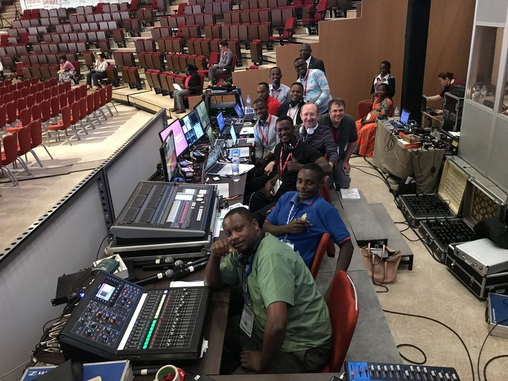The control table team (including LED Concept's light and sound engineers)