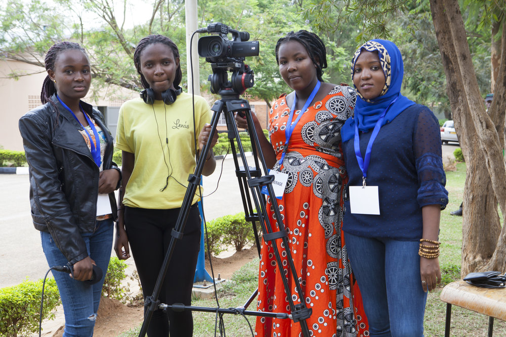 ADMA students Noella Claire Dushakimana, Joselyne Uwamahoro, Didacinne Mujawimana, and Rehema Umwali pose for a photo