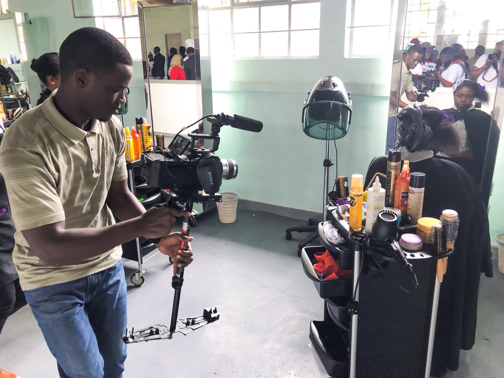 Bruce Nshimiyimana on FS700 with Glidecam at WorldSkills Competition at IPRC Kigali