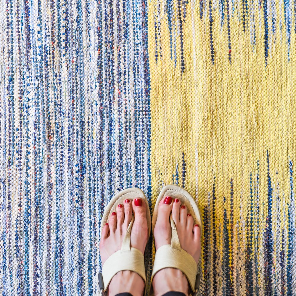 blue yellow rug