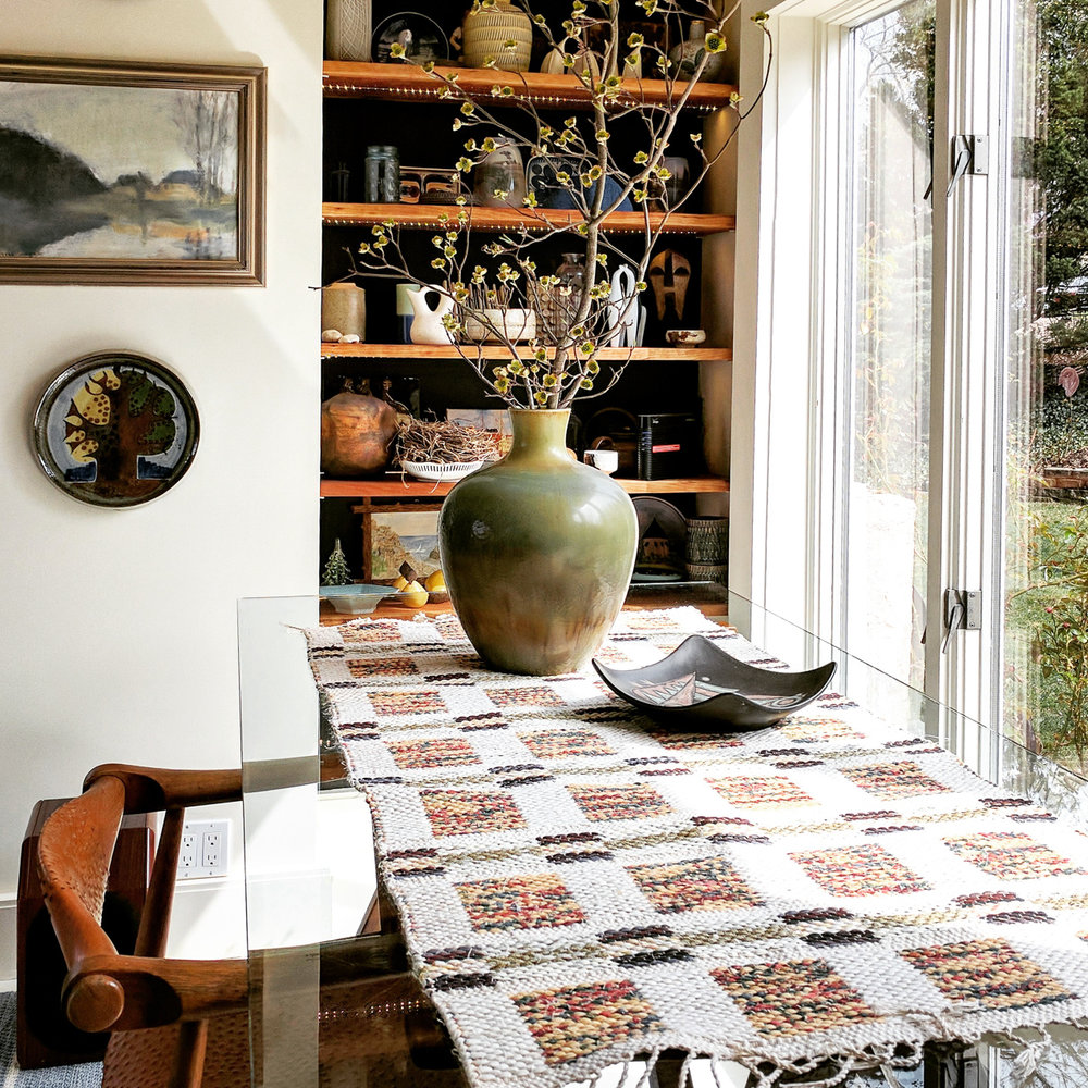 USE SMALL RUGS … - at an entranceway to any room • in the powder room • as a wall hanging • under a side table • under a potted plant • under objets d'art • on the dining table for use or decoration • on top of a side table • at the bedside • on the back of a chair or sofa or on the seat of a chair to protect or decorate • anywhere a child or grandchild sits to protect fabrics • on the table for the bar setup or placed anywhere in a casual manner for a shot of color and texture • more•SHOP SMALL RUGS•