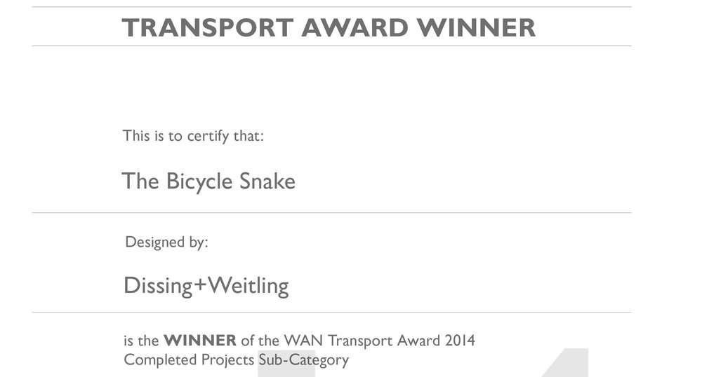 "WAN Awards, Transport 2014    The Bicycle Snake  won the WAN Awards Transport 2014   ""An elevated (literally and figuratively) response to a simple problem; adapted to local culture. Simple. Elegant. Joyous."""