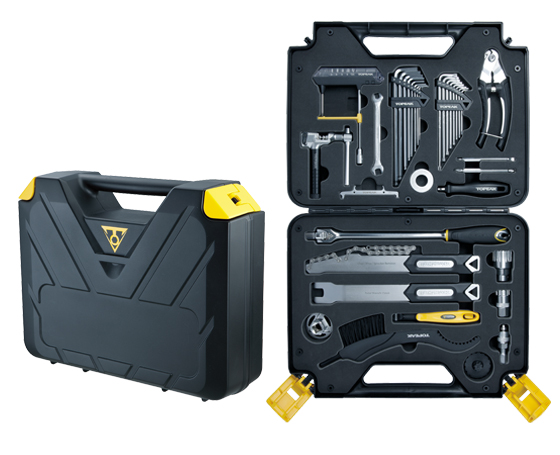 THE PREPBOX 36 professional shop quality bike tools (55 functions) fit neatly into a pro-level carrying case. Attachable carry bag for additional tools. Great for shop work, events or at-home bike maintenance.