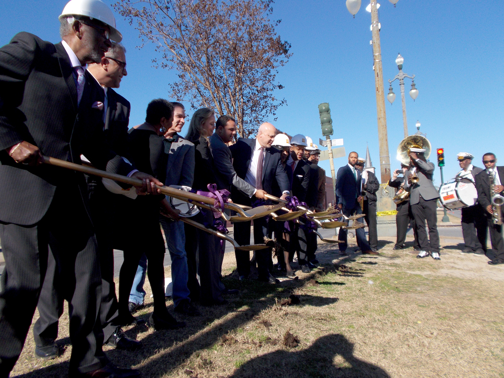 Local City and State officials break ground in a ceremony Wednesday, January 28, 2015, to commemorate the beginning of construction on the Rampart Streetcar Line.