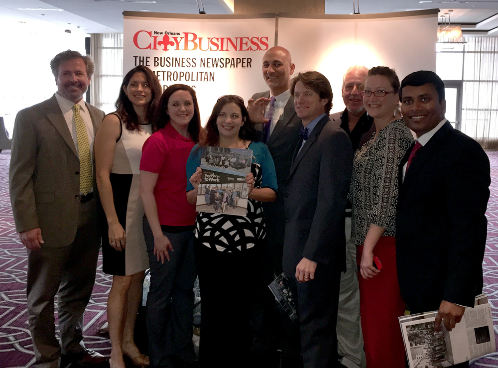 Infinity Engineering Consultants employees, from left, Michael Riviere, Rachel Kenney, Cindy Gallo, Amber Cardon, Raoul V. Chauvin, III, Bill Thomassie, Kevin Loze, Katie Carter and Vinay Ramesh attend the New Orleans City Business Best Places to Work awards banquet.
