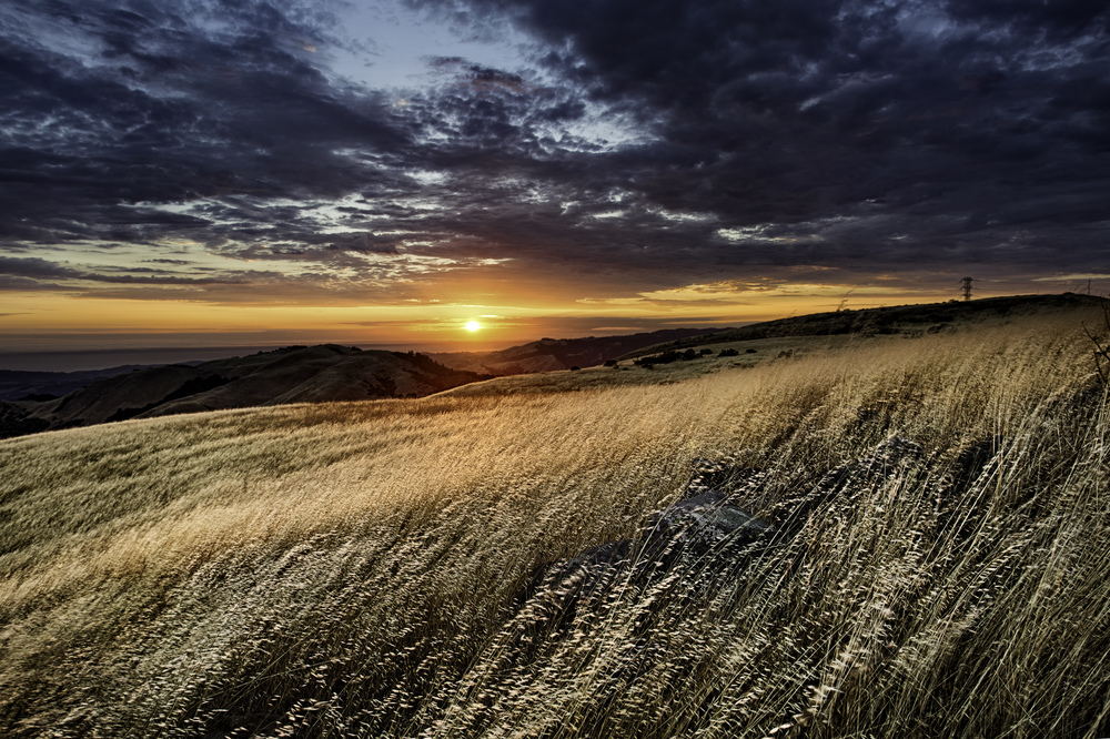 Sunset over Russian Ridge, California