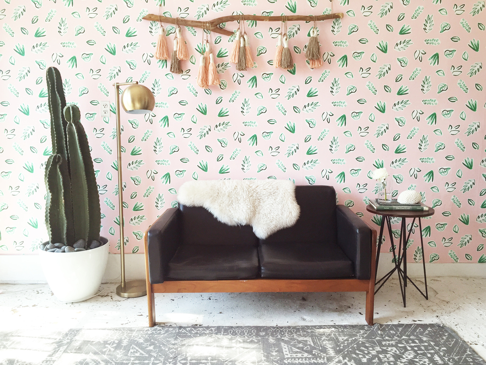 Kate Zaremba | Plants on Pink Wallpaper