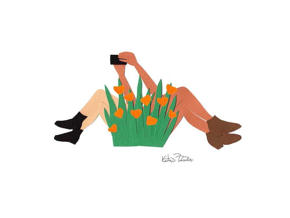 Millennials take selfies in a flower bush. Limited edition print now available!