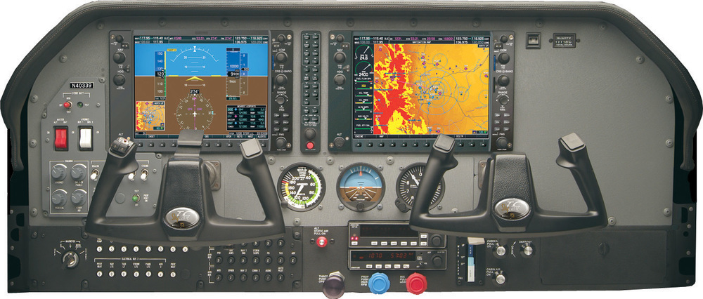 The Garmin G1000 instrument panel in the Cessna 182T, which combines the standard flight instruments into two large screens to show aircraft parameters. Three standby instruments are also available in the centre of the console.
