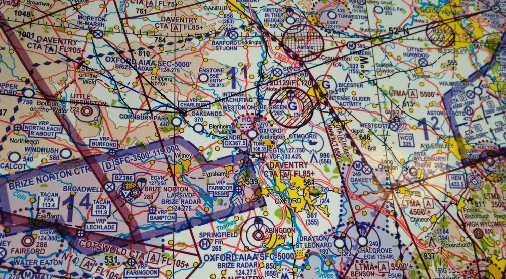 The local area around Oxford Kidlington Airport shown on a CAA aeronautical chart.