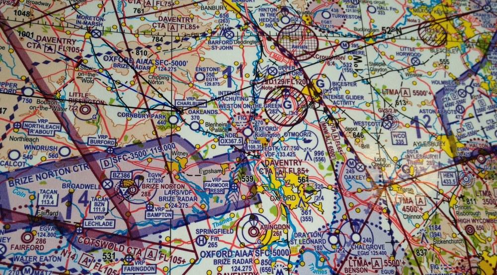 The local area around Oxford Kidlington Airport shown on a CAA aeronautical chart.