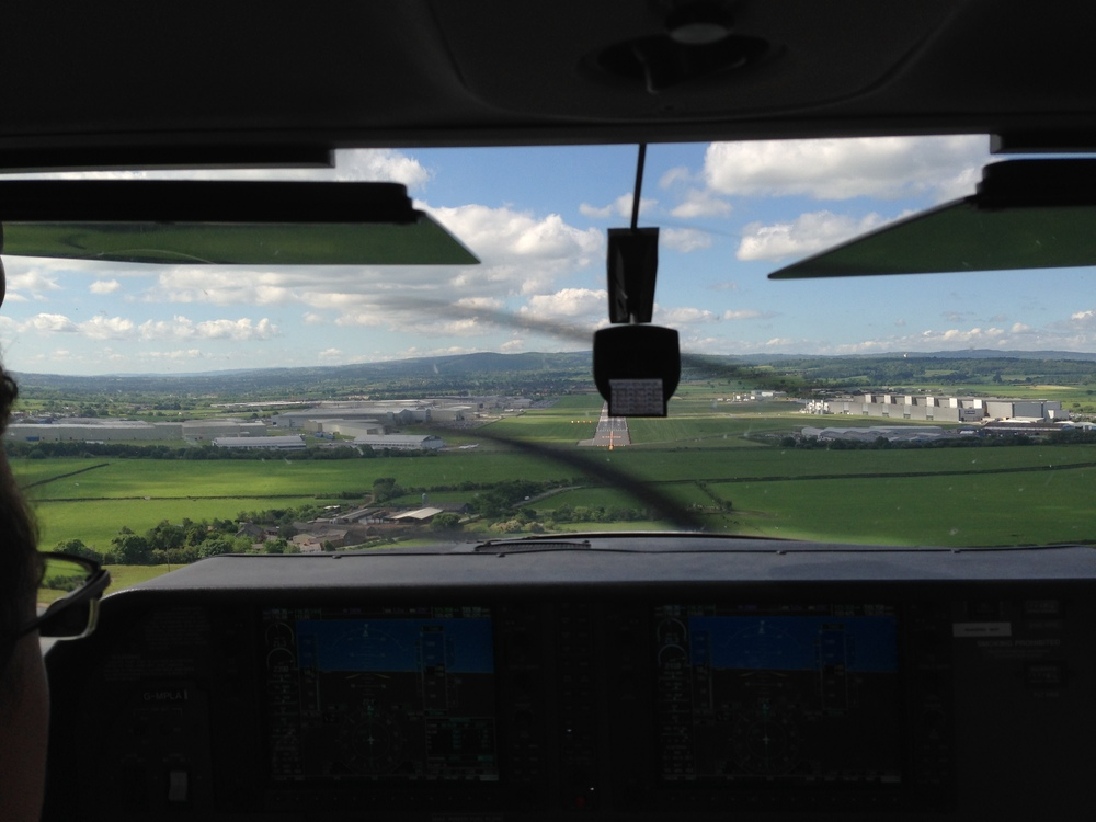 Final approach into Runway 22 at Hawarden Airport (EGNR), Chester, the airfield where both myself and my flight partner flew from in the early days of our flight training.