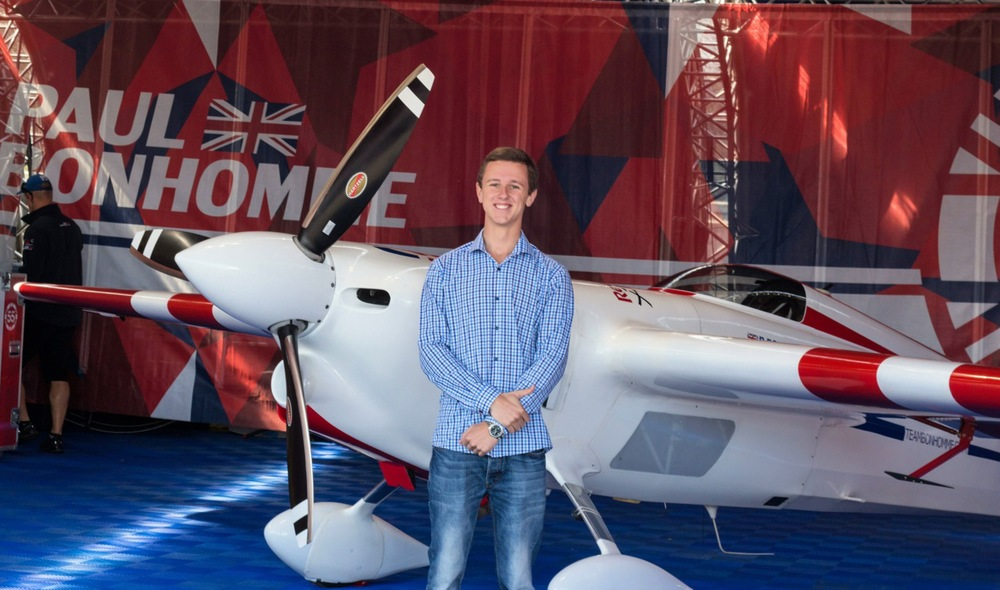 Team Bonhomme's Zivko Edge 540 V2, taken just hours before Paul took first place at the UK round of the Red Bull Air Race.