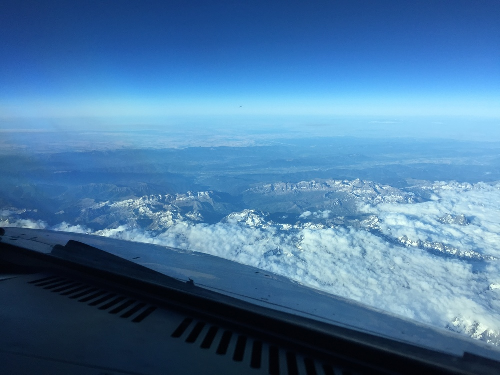 The Pyrenees. Between France and Spain, you can see here the cloud formations on the Northern side as we fly South to Madrid.