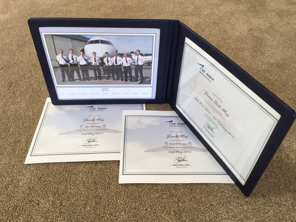 Look what came in the post! Course Completion Certificate and Group Photo courtesy of CAE Oxford Aviation Academy.