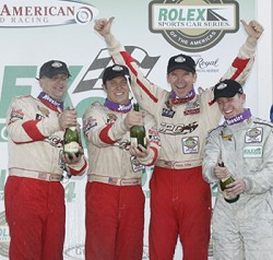 Our sponsor, TPC Racing, knows a thing or two about road trips.    Here they are at the top of the podium at the Rolex 24 Hours of Daytona in '06.       Photo courtesy of randypobst.com