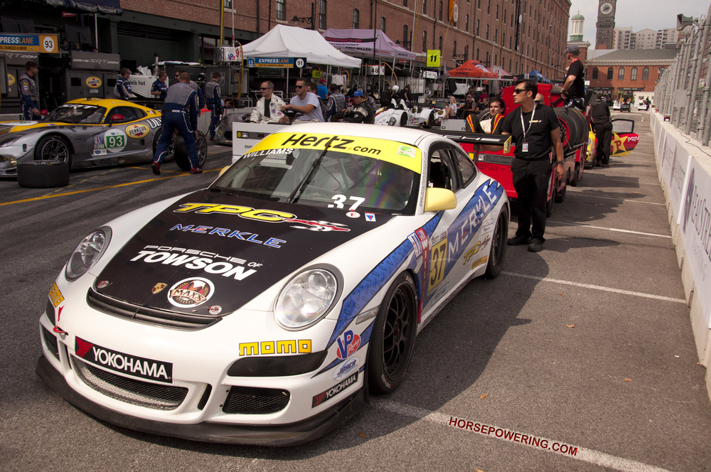"TPC Racing's Porsche rests after its run at the 2013 Grand Prix of Baltimore.    [Photo courtesy of Rich ""Will"" Williams]"