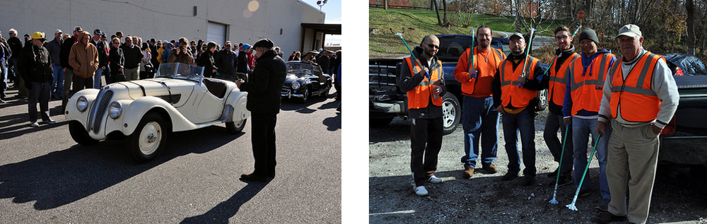 "Photos are courtesy of Rich ""Will"" Williams.  [Left] '37 BMW 328 at Simeone Museum  [Right] Adopt-A-Road crew after the clean-up"