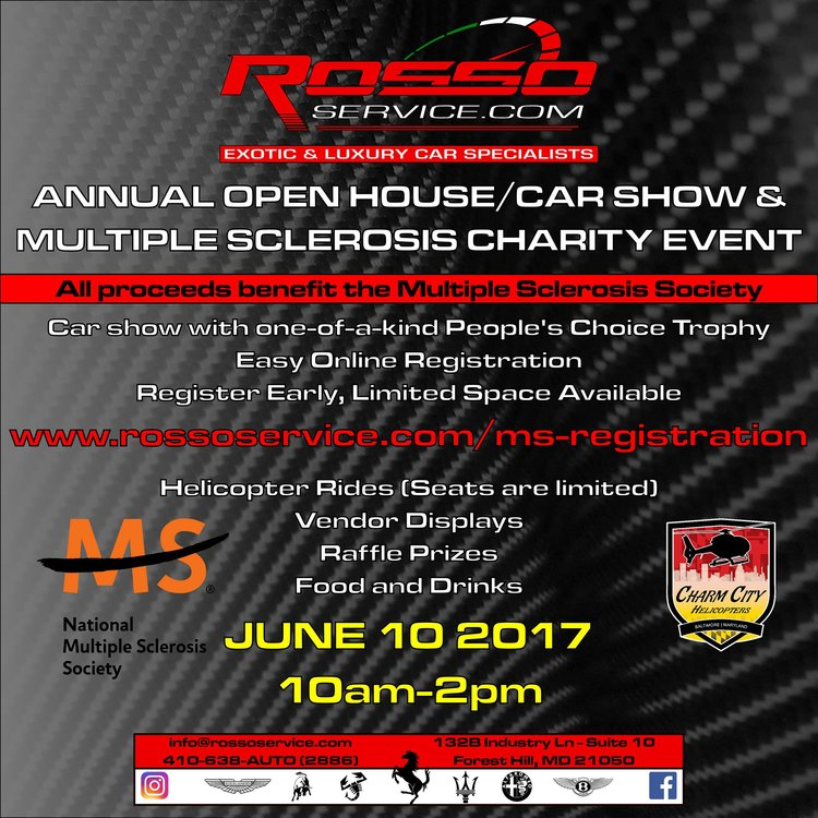 rosso service annual open house car show and ms charity drive hunt