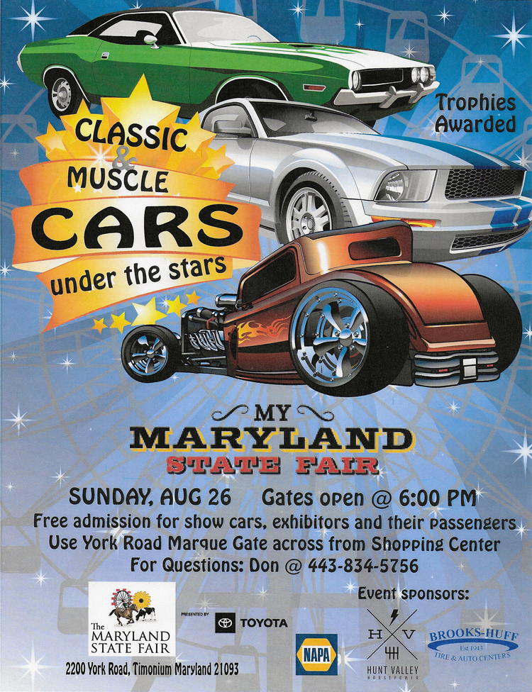Maryland State Fair Classic Muscle Car Show Hunt Valley Horsepower - Classic car show york