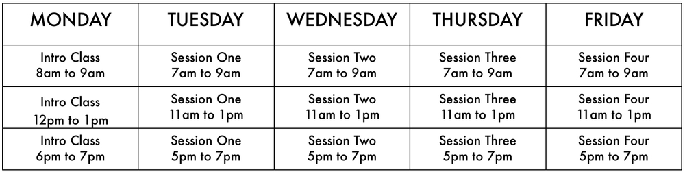 Course participants are to attend one Intro Class session and one of each of the four Course Sessions (one session per day). Course participants may attend sessions at different times on consecutive days. Sessions must be completed in order as the knowledge is sequential. Make up sessions may be scheduled as needed.