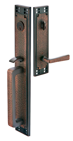 129 Arts & Crafts Entry set full plate with hammered lever in oil rubbed bronze.  Available mortise or tubular in four finishes and numerous interior knob or lever options.