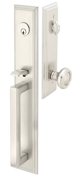 129 Melrose Entry set full plate with ribbon and reed knob in satin nickel.  Available mortise or tubular in several finishes and numerous interior knob and lever options.