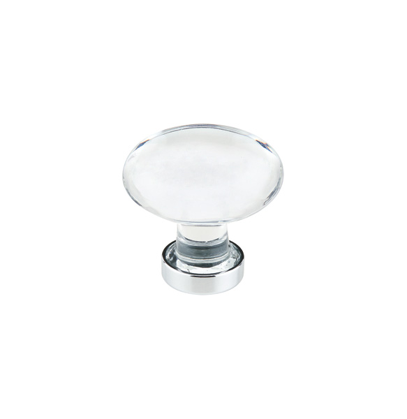 12986402US26 Hampton oval crystal knob 1-3/4in shown with polished chrome base.  Available in seven finishes.