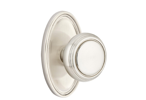 1298120-NW-US15 Norwich knob oval rosette.  Shown in satin nickel.  Available in all functions and many other finishes.