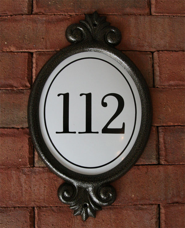 Address plaques of all shapes and sizes.  Offered in many diferent finish combination to suit your home.  Contact us for more info.