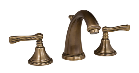 2281020-06 Amisa widespread lav faucet shown in antique brass.  Available in 27 finishes.