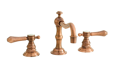 2281030-08A Chesterfield lav faucet shown in antique copper.  Also offered with cross style handles.  Available in 27 finishes.