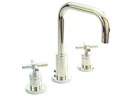 2281400-15 East Square lav faucet shown in polished nickel.  Also offered with lever handles.  Available in 27 finishes.