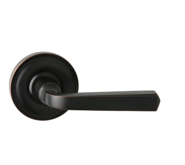 217334SB-10B Squared lever round rose.  Shown in oil rubbed bronze.  Available in all functions and four finishes.