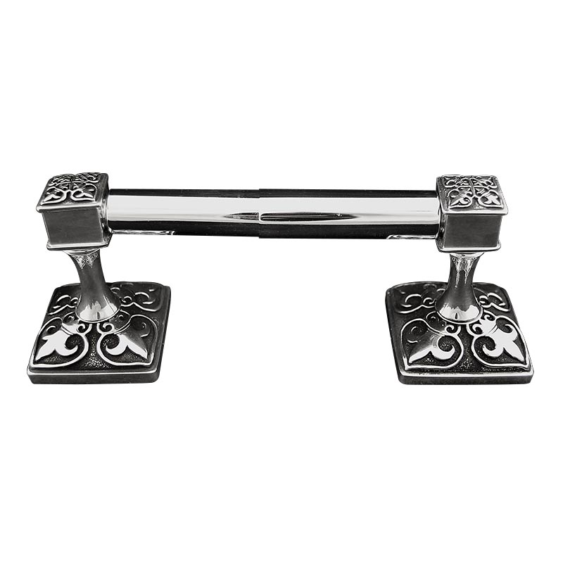188TP90135-AS Fleur De Lis double post tp holder shown in antique silver.  Available in 12 finishes.