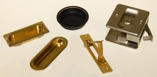 Pocket door hardware offered in many styles, sizes and functions.