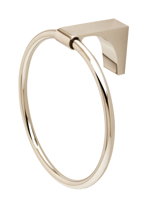106A6840-PN Luna towel ring shown in polished nickel. Available in five finishes.