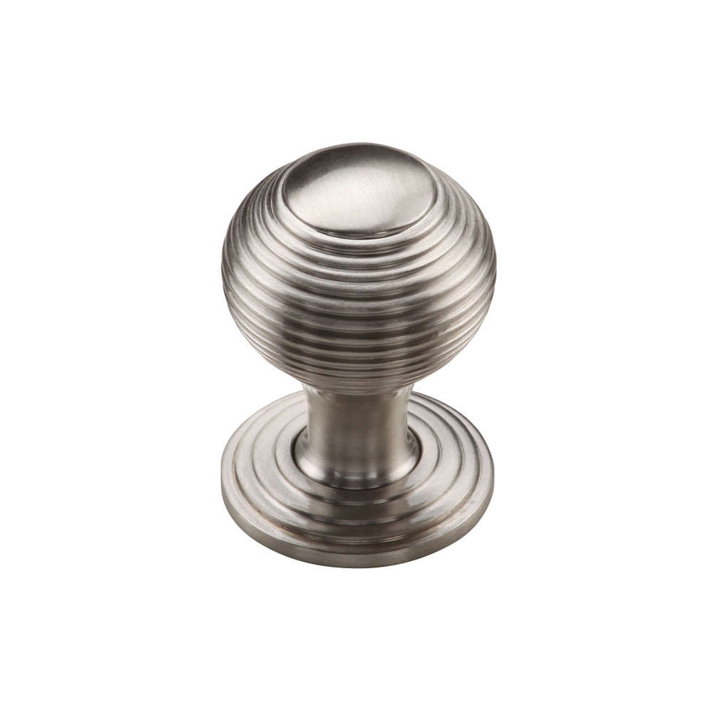 "267MT973-32-GSN Ribbed knob and back plate 1-1/4"" shown in satin nickel. Available in three other finishes."