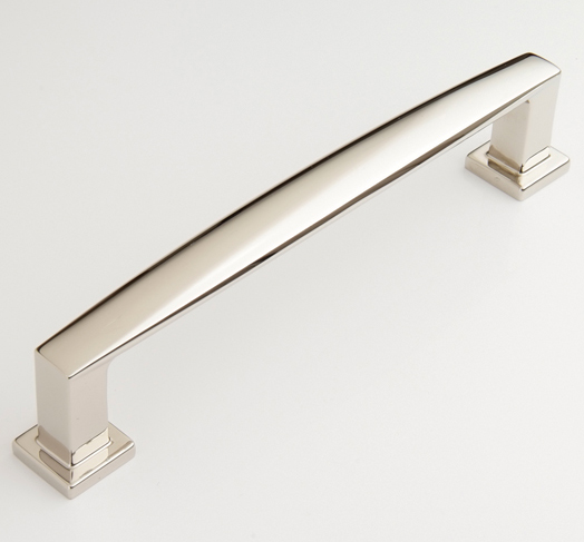 "2597374-PN Hudson handle 6"" ctc shown in polished nickel. Available in several sizes and numerous finishes."