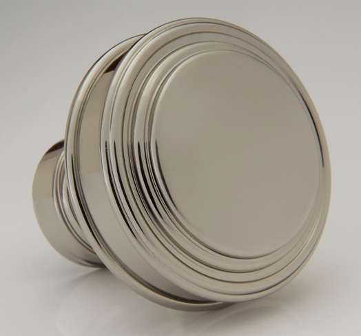 "2598433-PN Terrace knob 1-1/4"" shown in polished nickel.  Available in two sizes and many finishes."