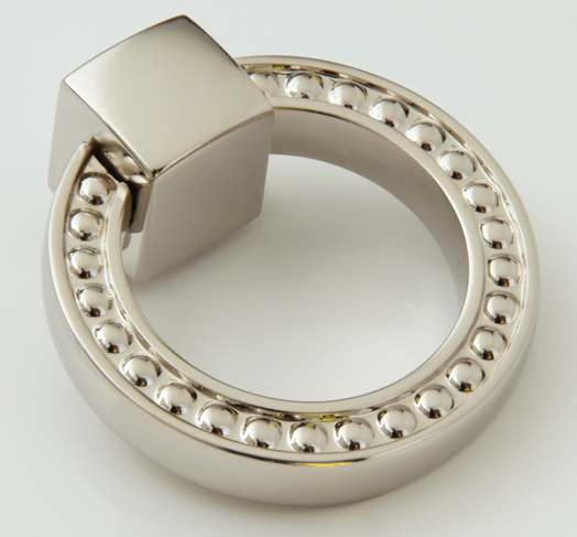 "25915214-PN Beaded ring pull 1-3/4"" diameter shown in polished nickel. Available in many finishes."