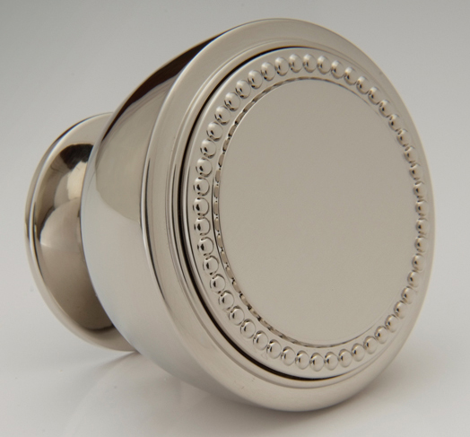 "2598405-PN Beaded Font knob 1-1/2"" diameter shown in polished nickel.  Available with monogram detail in numerous finishes."