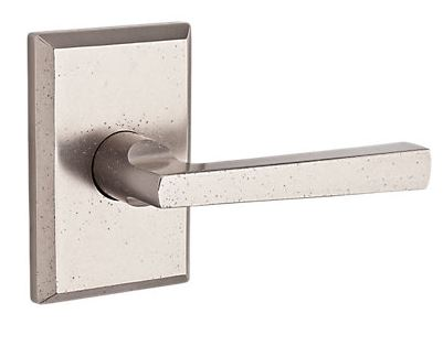 110TAPRSR492 Taper lever with rustic square rose shown in white bronze.   Available in all functions, with other finish and rosette options.
