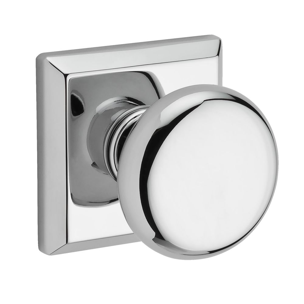110ROUTSR260 Round knob with traditional square rose shown in polished chrome.   Available in all functions, with other finish and rosette options.