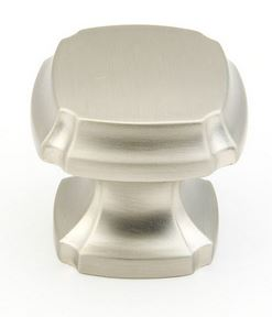 195882-15 Empire square knob shown in satin nickel.  Available in six finishes.