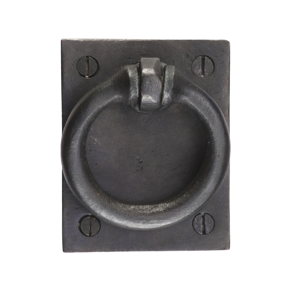 "2676367-BZ Drop ring pull front mount 2"" x 2-1/2"" shown in dark bronze. Available in three finishes."