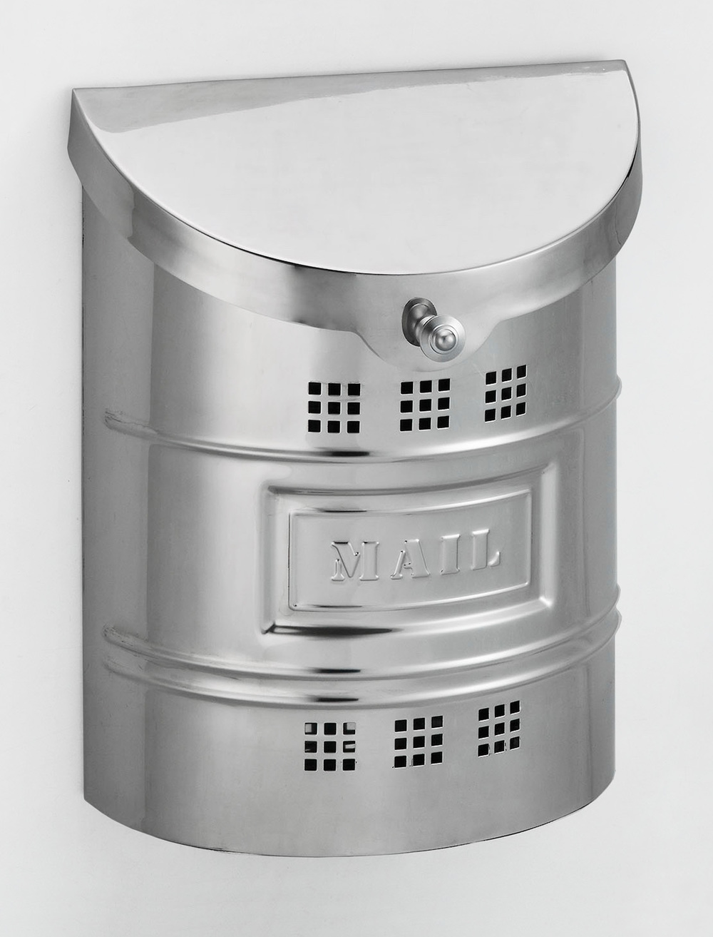 212E2M Barrel drum cut out ecco mailbox. Size: 11.25 W 14.5 H 4.5 D. Hardware included. Shown in polished stainless steel.  Smaller size available.