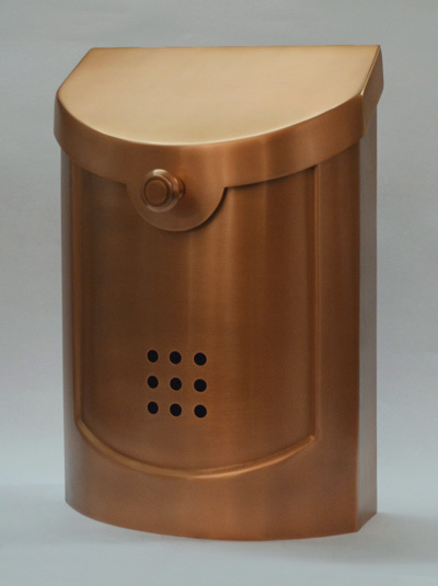 212E5CP Small Transitional wall mount mailbox. Size: 8.5 W 12 H 4 D. Hardware included. Shown in copper. Other finishes available.
